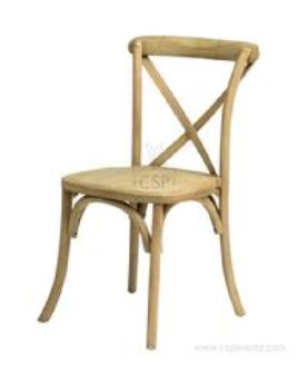 A cross back chair showing its curved slat on top and the crossing of the wood on back.  The color is natural wood called tinted raw