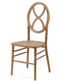 This picture shows the wooden chair with the back shaped in a circle with an x design in the middle.  It is natural wood tinted raw