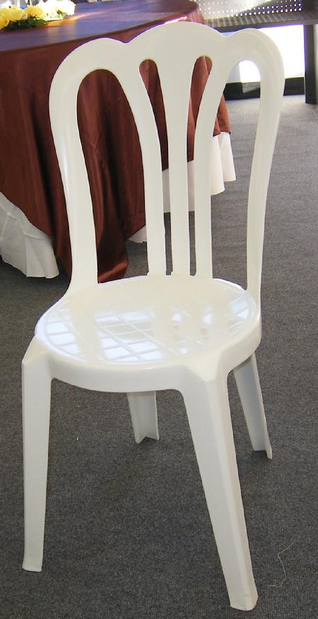 A white bistro or garden chair showing its high scalloped back and rounded seat
