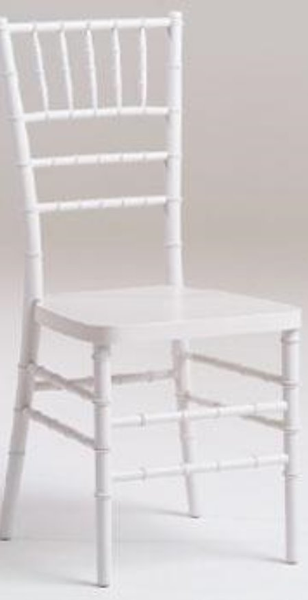 A White chivari chair has a back withone row of slats on the back going vertical and the other 2 slats going horizontal
